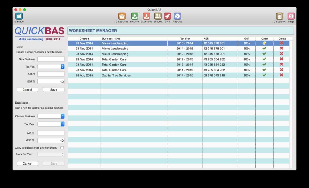 Quickbas User Guide Start A New Bas Worksheet